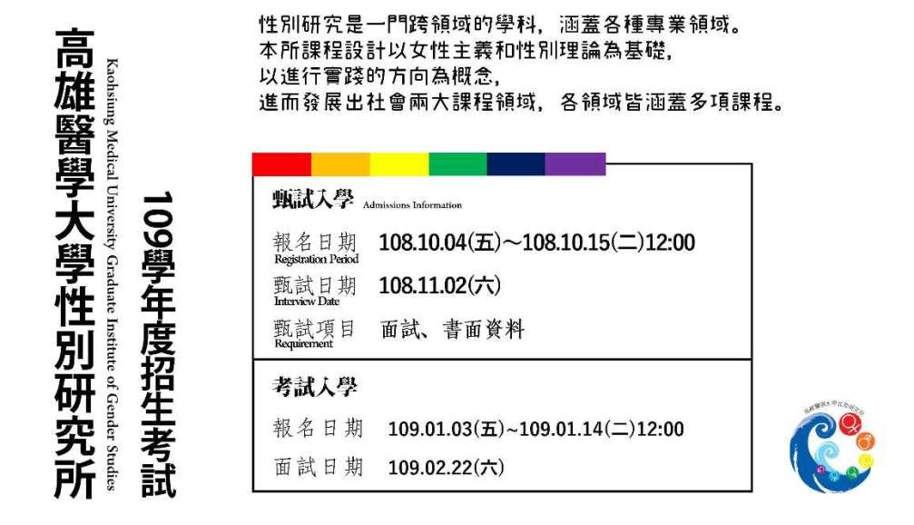 高醫大性別所109學年度入學招生中